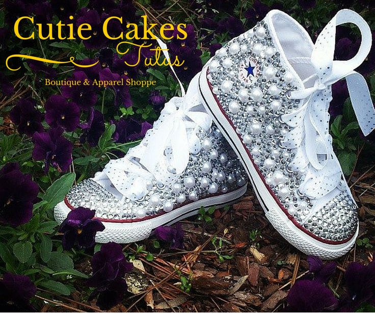 Infant/ Toddler Bling Converse. White or Ivory Pearl and Rhinestone Encrusted Converse. Custom Bling Shoes with Satin Ribbon Laces by CutieCakesTutus on Etsy