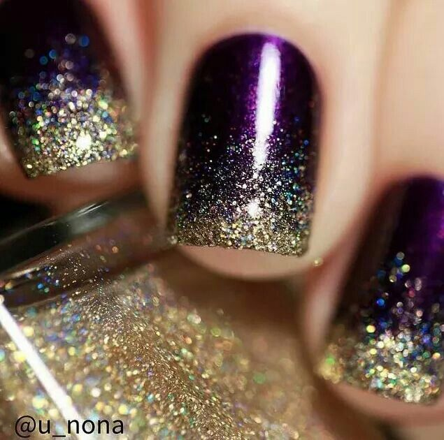 Purple & Gold Glitter Nails