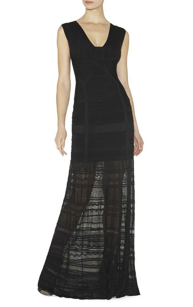 NWT AUTH HERVE LEGER MIRIAM POINTELLE BLACK FULL LENGTH DRESS SZ S, L