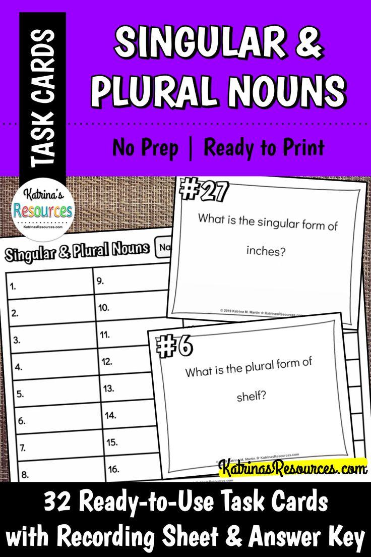Singular and Plural Nouns Task Cards Singular, plural