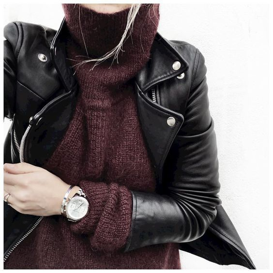 cozy oxblood turtleneck and leather moto jacket. love that burgundy sweater.