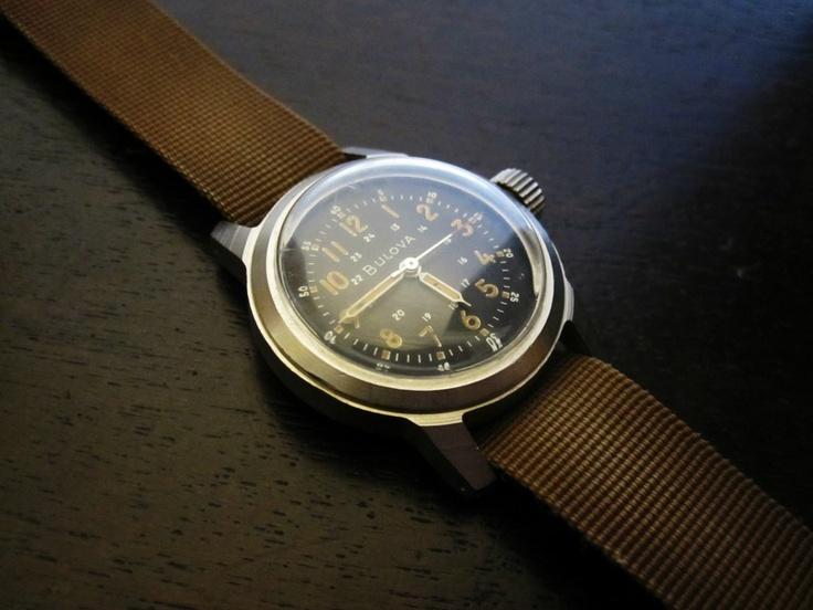 Vintage Bulova Vietnam Military Wrist Watch HACK 1959