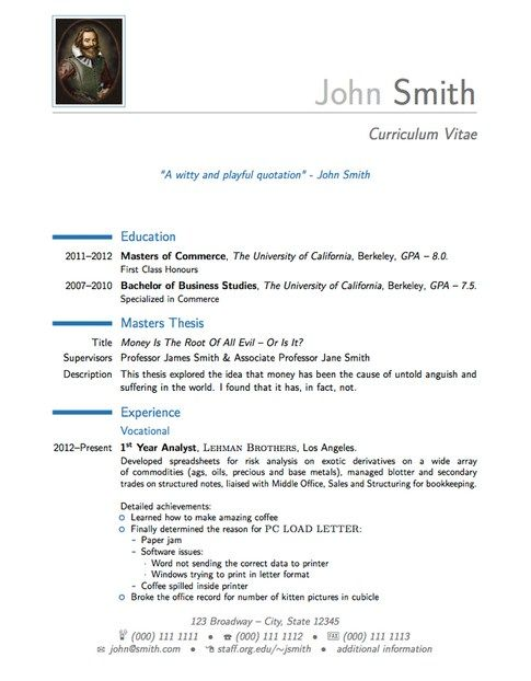 The 25+ best Latex resume template ideas on Pinterest Latex - curriculum vitae template free