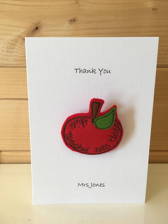 Personalised Teacher thank you card and gift brooch