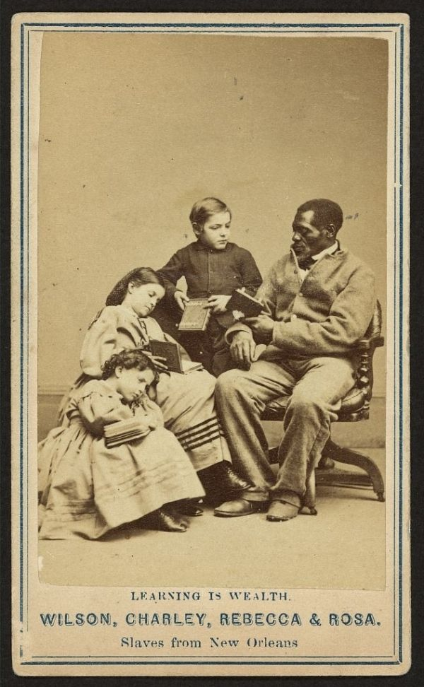 """Wilson, Charley, Rebecca & Rosa 1863.  The 3 children are of mixed race ancestry. Historic Photographs Of """"White"""" Slaves"""