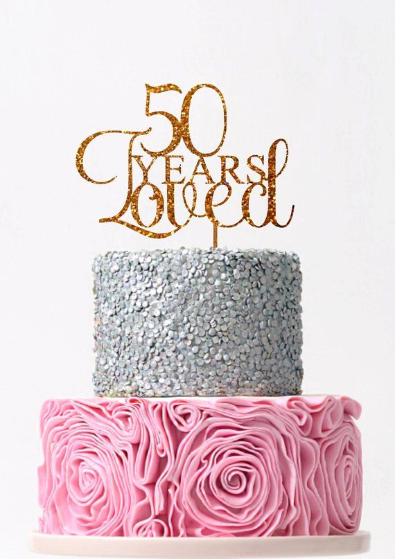 Prime 50 Years Loved Cake Topper 50Th Birthday Cake Topper Fifty Rose Personalised Birthday Cards Veneteletsinfo