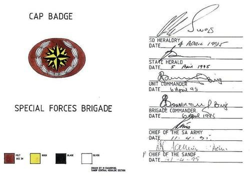 South African Army - Beret badge - Special Forces (8th issue) - lurex wire on cloth with embroided border - (ORIGINAL) for sale in Oudtshoorn (ID:328965862)