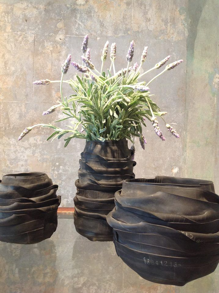 recycled bike tubes - vases