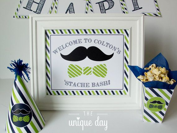 Little man birthday party sign - welcome sign - mustache birthday - printable - PERSONALIZED - mustache decor - table sign - DIY // MUST-08