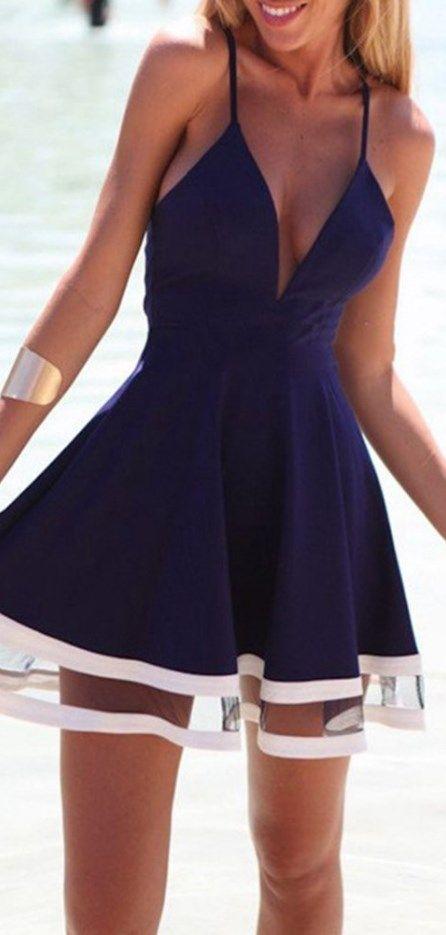 Sexy homecoming dress! Navy Blue Deep V Neck Spaghetti Strap Pleated Ruffle Short Skater Mini Dress // http://www.cutedresses.co/product/sexy-deep-v-neck-spaghetti-strap-pleated-ruffle-short-skater-mini-dress/
