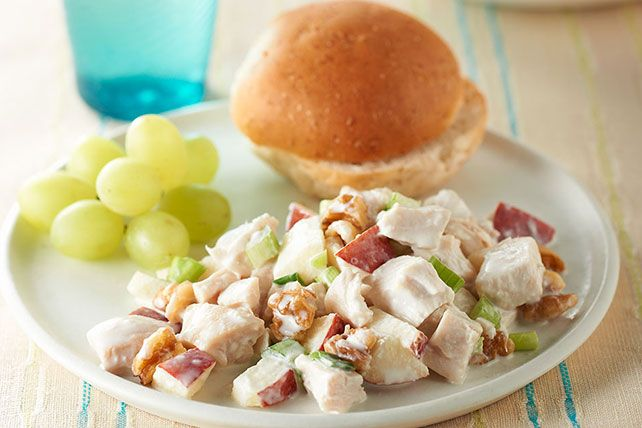 Mix your fruits and veggies with our tangy Chicken Salad with Apples! Walnuts, celery and apples pack a powerful crunch in our Chicken Salad with Apples.