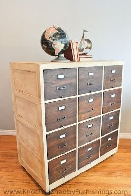 Vintage Wood File cabinet re-finished with Chalk Paint® decorative paint by Annie Sloan in Old White and Dark Walnut Wood Stain! YUMMY!