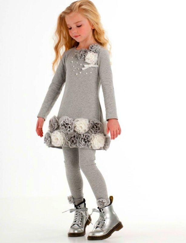 Kate Mack goldiges Kleid mit 3D Blumen - Grau Weiss