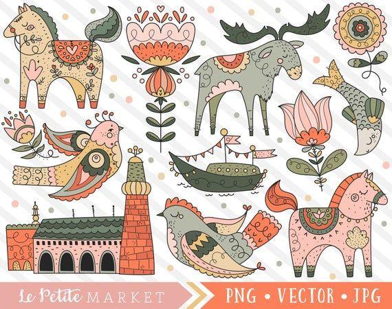 Cute Scandinavia Clipart Scandinavian Clip Art Set Cute Etsy In 2020 Clip Art Art Set Digital Art Illustration