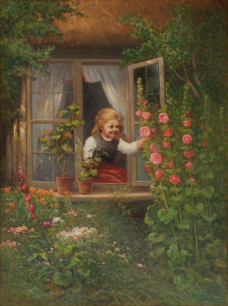 SEVERIN NILSON (1846-1918). Flicka och blommande stockrosor. Olja på duk.
