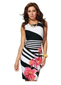 Frank Lyman Floral Cocktail Dress - BLACK / WHITE