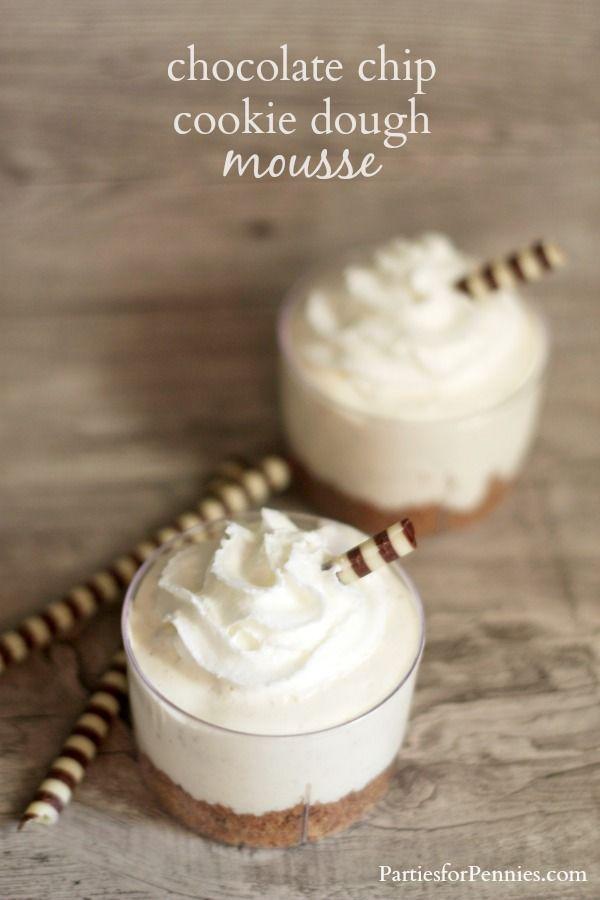Mini Dessert | Chocolate Chip Cookie Dough Mousse Cup | PartiesforPennies.com #dessert #recipe #minidessert