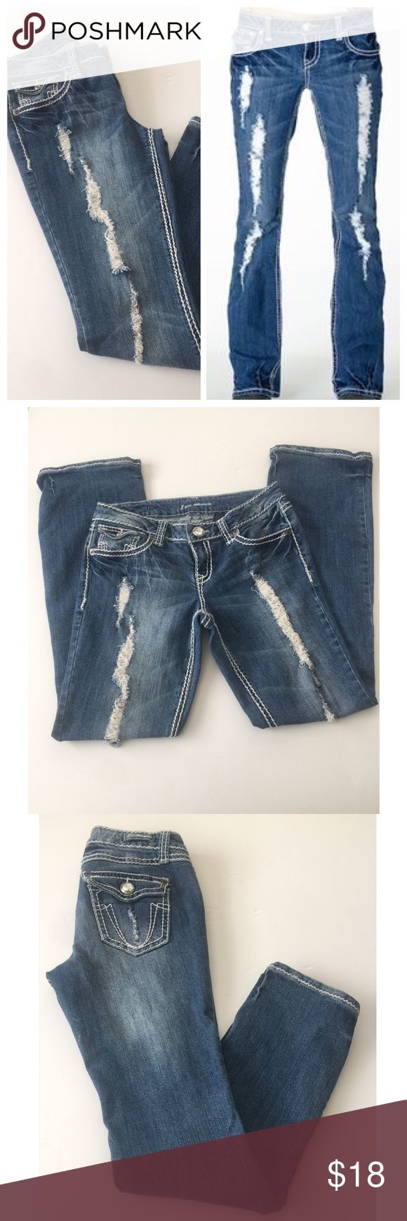Z • Co. • Premium • Distressed • Jeans Cute distressed straight leg jeans.  Brand • Z Co. Premium.  Size • 9.  Fabric • 99% cotton, 1% spandex.  Condition • Worn a couple of times, in beautiful condition.   Measurements upon request. ZCO Jeans Straight Leg