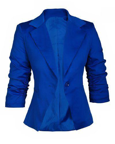 AO Blazer cintré Manches 3/4 froncés Taille XL Bleu Royal