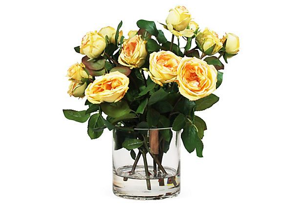 "One Kings Lane - Set the Scene - 12"" Roses in Glass Vase, Orange/Yellow"
