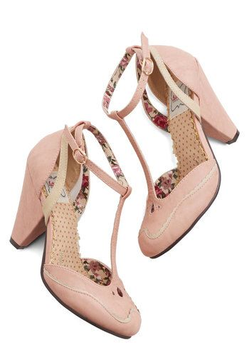 Classic Confection Heels in Bubblegum by Tatyana/Bettie Page - High, Faux Leather, Pink, Solid, Party, Daytime Party, Vintage Inspired, 20s, 30s, Better, T-Strap, Variation