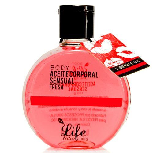 LIFE ACEITE SENSUAL LIFE BODY FRESA 100ml Posee propiedades emolientes, hidratantes y relajantes, proporciona nutrientes esenciales que suavizan y protegen la piel. Es comestible.