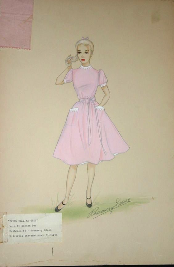 """Sandra Dee original costume sketch by Rosemary O'Dell at Universal Pictures for the 1961 film """"Tammy Tell Me True"""""""