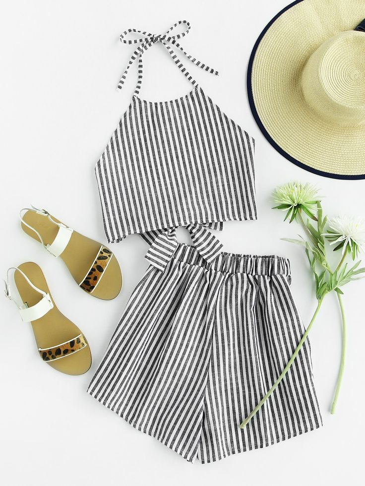 Shop Striped Bow Open Back And Shorts Set online. SheIn offers Striped Bow Open Back And Shorts Set & more to fit your fashionable needs.