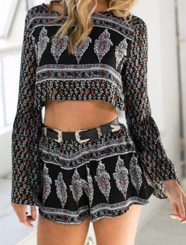 Sexy Round Neck Floral Print Backless Long Sleeve Crop Top and Shorts Twinset For Women Shorts | RoseGal.com