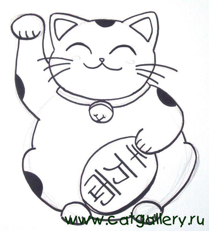 Maneki Neko Drawing | Добавьте черные пятна (кошка ведь у ...