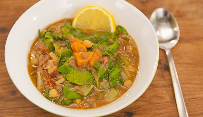 Lentil, Spinach and Ham Soup