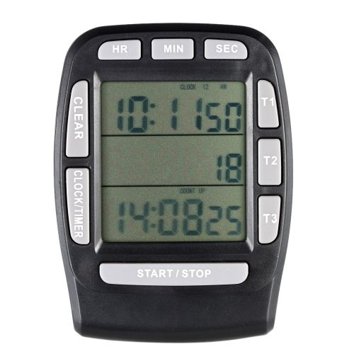 LCD Digital Alarm Timer with Triple Display 3-Line Kitchen Cooking Industrial Timer Countdown Stopwatch