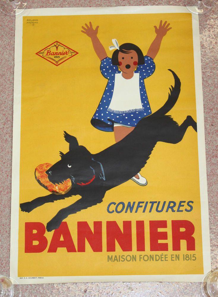 rare et ancienne affiche publicitaire confitures bannier sign e roland ansieau. Black Bedroom Furniture Sets. Home Design Ideas