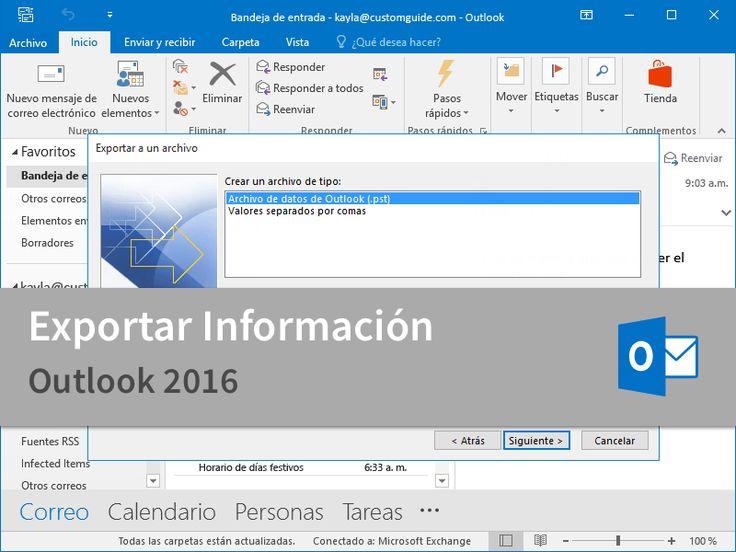 Cursos Gratis - Microsoft Outlook 2016 - Experto en Exportar Información en 2 Minutos.