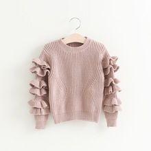 Hug Me Girls Sweater Christmas Kids Clothing 2016 Autumn Pullover Sweater Korean Fashion Ruffle Long Sleeve Sweater AA-346(China (Mainland))