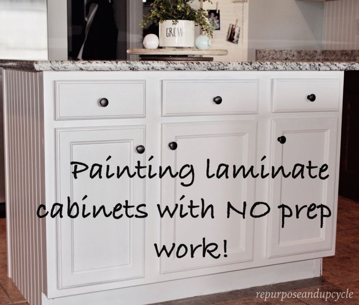 Painting laminate cabinets with NO PREP WORK | Repurpose and Upcycle