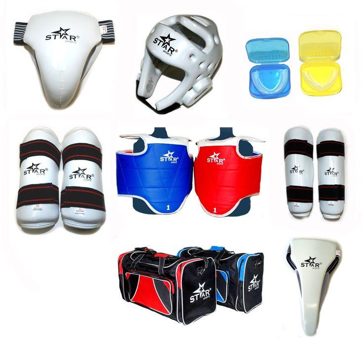 Star Sports WTF Taekwondo Sparring Gear Protectors Guards Complete Set (L Men 160CM~170CM)