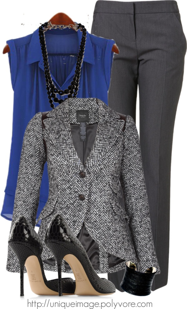 """Charcoal Harringbone Blazer"" by uniqueimage ❤ liked on Polyvore"