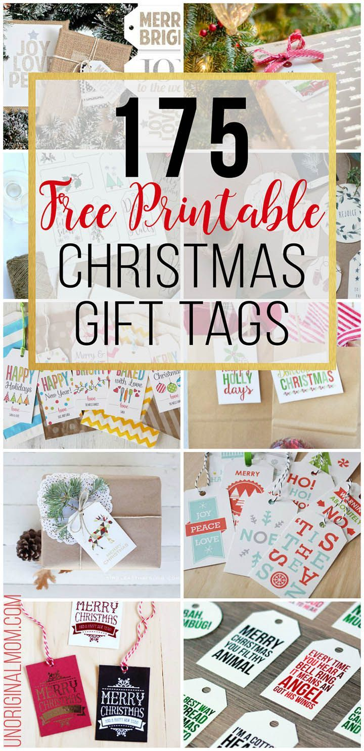 175 different FREE printable Christmas gift tags! So many beautiful tags to choose from. Dress up your Christmas gifts for free!