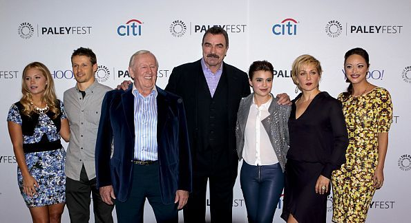 Cast members of BLUE BLOODS participate in panel discussions at PaleyFest October 18, 2014 at the Paley Center for Media in New York City. Pictured: Vanessa Ray, Will Estes, Len Cariou, Tom Selleck, Sami Gayle, Amy Carlson and Marisa Ramirez on the red carpet. Photo: Giovanni Rufino/CBS ©2014 CBS Broadcasting, Inc. All Rights Reserved