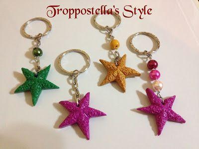 Portachiavi con perle e stella in fimo  Troppostella's Style