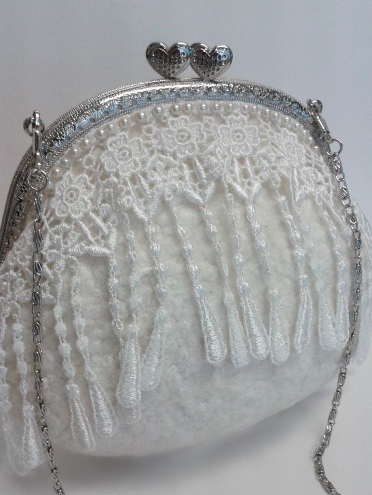 White wool felt clutch purse with lace and beading. 11268 by Feltedfibres on Etsy
