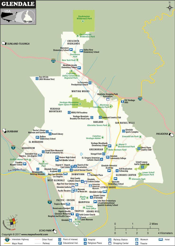 Glendale City Map, California
