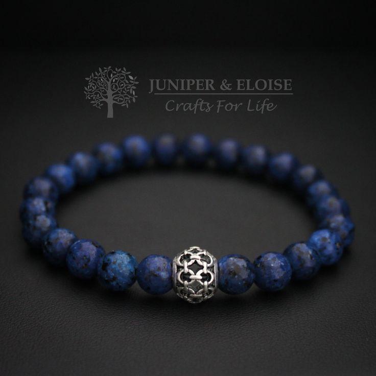 Handmade Stretch Bracelet , 8mm Faceted Navy Blue Jasper and Spacer Bead with Chain Pattern , Stretch Beaded Bracelet For Men , Unisex by JUNIPERANDELOISE on Etsy