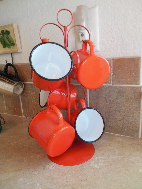 Enamel orange coffee cups set of five on by funfindingsforsale