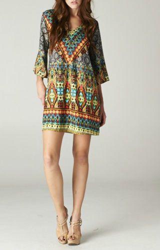 MIAMI BEACH Mosaic Island Print Dress/Tunic/Cover-up CHELSEA VERDE L | eBay