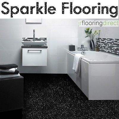 BLACK Sparkly Bathroom Flooring / Glitter Effect Vinyl Floor. Next Sparkle Lino