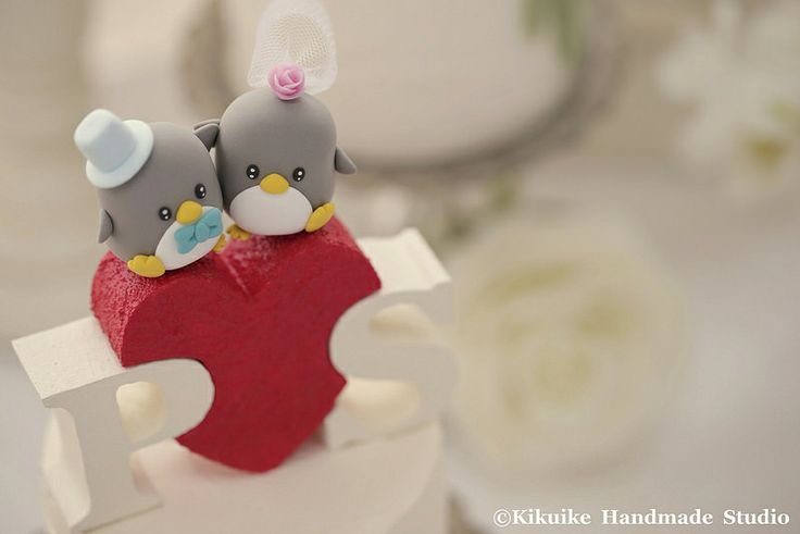 Penguins with initials letters wedding cake topper