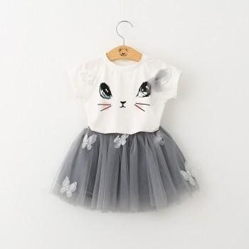 Sweet Cat Print Short-sleeve Tee and Tulle Skirt Set for Girls