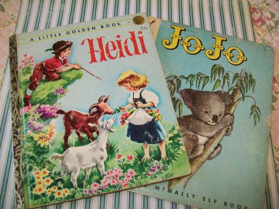 SALE - 2 Midcentury books, Heidi, JoJo, 1954, 1964, book, children, picture books, Little Golden Book, Elf Book, Rand McNally on Etsy, $6.99